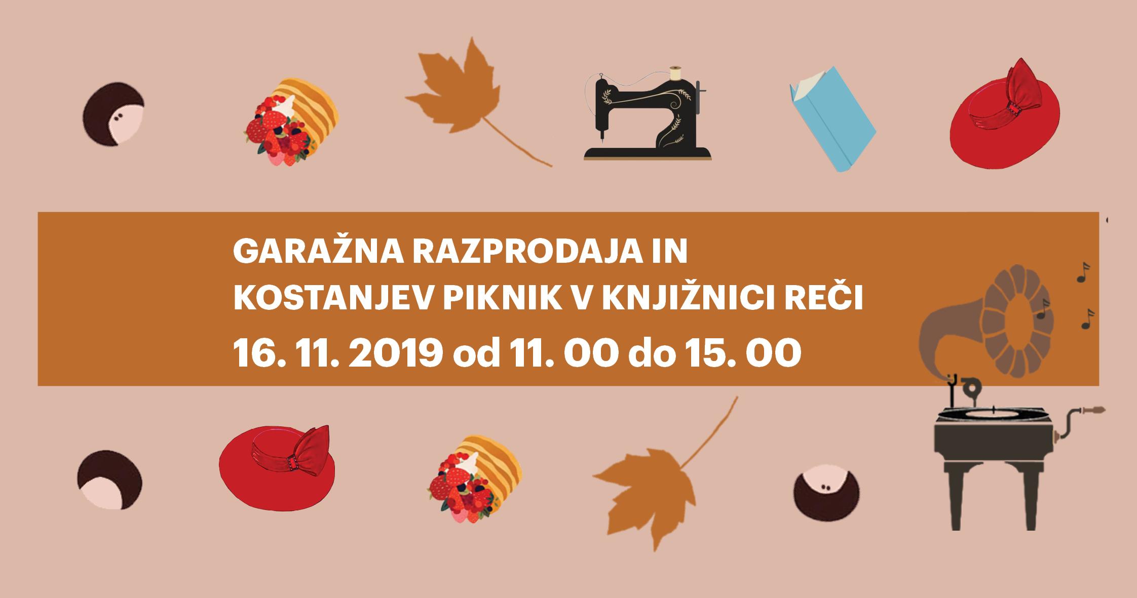 Garažna razprodaja in kostanjev piknik v Knjižnici REČI
